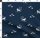 Jagd, Wald, Hund, Enten, Marineblau, Labrador Stoffe -