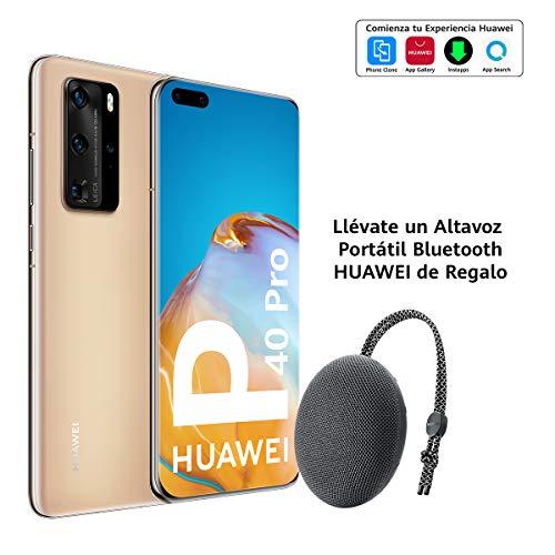 Huawei P40 Pro 5G - Smartphone de 6,58' OLED (8GB RAM + 256GB ROM, Cuádruple Cámara Leica de 50MP (50+40+12+TOF), zoom 50x, Kirin 990 5G, 4200 mAh, carga rápida , EMUI 10 HMS) Oro + altavoz CM51