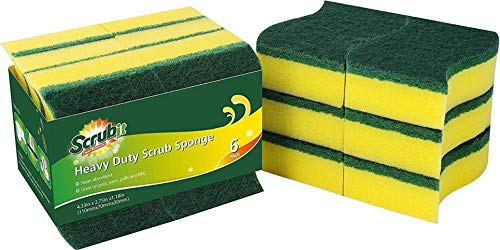 (12 Pack) Heavy Duty Scrub Sponges by SCRUBIT – Kitchen Dish, Sink and Bathroom Cleaning Scrubber Sponge - with Non-Smell Scouring Pad