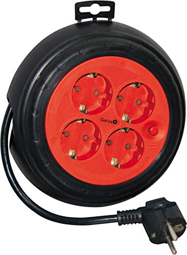 Garza Power - Enrollacables de 3 Metros con 4 Tomas, color negro/rojo