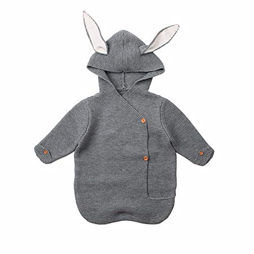 HAYI New Baby Slight Bag Winter Knitting Wrap Wrap Manta de manga larga Durmiendo bebé bebé conejo cálido swaddle manta (Color : Gray)
