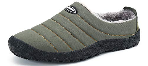 UBFEN Zapatillas de Estar Mujer Invierno Interior Exterior Zapatos Caliente de Lana como Peluche Forro Suela de Goma Anti Skid Slip On Guantes 40 EU A Verde