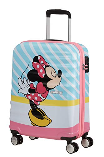 American Tourister Wavebreaker Disney - Spinner S Hand Luggage, Multicolour (Minnie Pink Kiss), 55 cm, 36 Litre