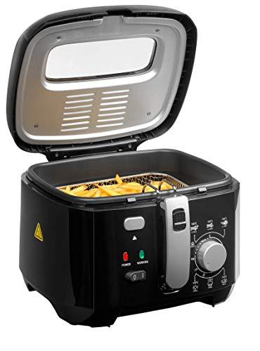 MEDION MD 17771 Fritteuse (1.800 Watt, 2,5L Ölbehälter, integr. Aluminium-Filter, Sichtfenster im Deckel, Überhitzungsschutz, Temperatureinstllung bis 200° C) schwarz