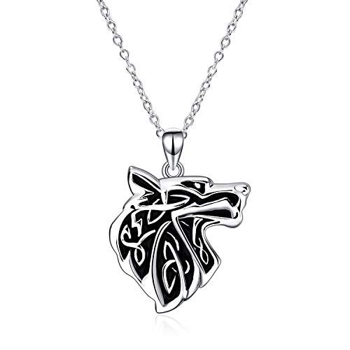 Wolf Necklace 925 Sterling Silver Antique Celtic knot Wolf Head Pendant Necklace for Men and Women Viking Gift Jewelry