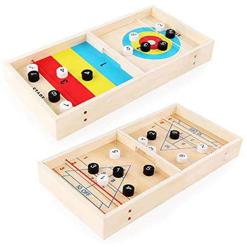 XIAPIA 3in1 Fast Slingpuck Game für 2 Spieler | Tisch Curling Holzspielzeug für Jungen und Mädchen ab 5 Jahren | Desktop Fastrack Board Hockey Familienspiel für Erwachsene 34x22x2,8 cm