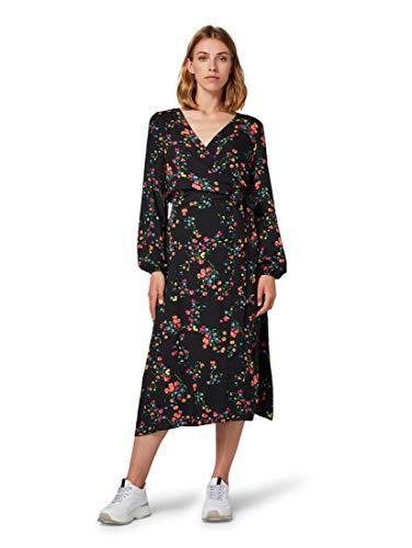 TOM TAILOR Damen Midi Wickel Kleid, Schwarz (Black Floral Design 22337), (Herstellergröße: 36)
