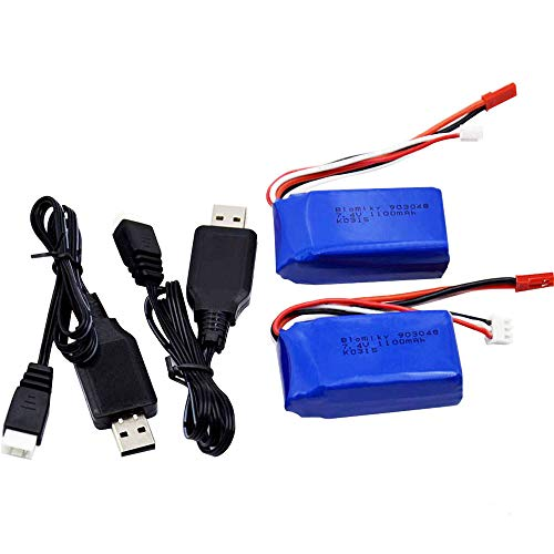 Blomiky 2 Pack 7.4V 1100mAh Lipo Battery with JST Plug for Wltoys A949 A959 A969 A979 A320 A321 RC Truck Cars and K929 RC Helicopter Airplane A959 Battery 2