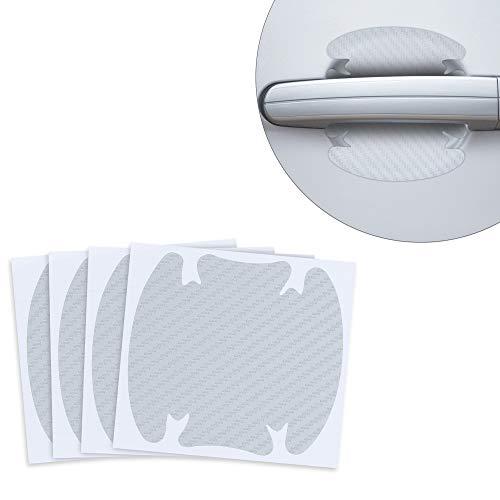 kwmobile 4X Universal Auto Türgriff Lackschutzfolie - selbstklebend - Carbon Schutzfolie Griffmulden Silber - 8,6 x 9,4 cm