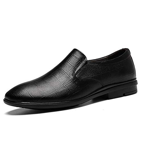 Business Drive Mocasines para hombre, de piel sintética, puntera redonda, con costuras y suela de condón, color sólido en relieve (color: negro, talla: 41 EU)