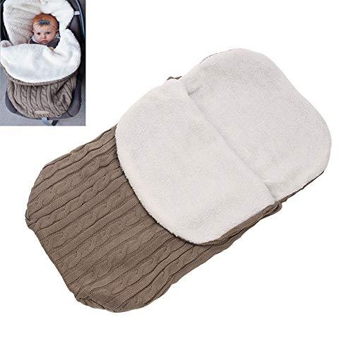ZXCVB Saco De Dormir De Terciopelo Baby Plus Saco De Dormir De Carro Grueso De Punto Grueso para Bebé Recién Nacido Bebé Swaddle Blanket Wrap Fleece Sleeping Bag,Khaki