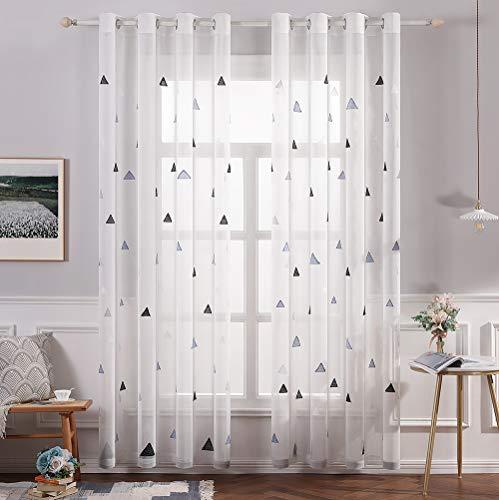 MIULEE Cortina Visillo Bordado Translucido de Dormitorio Infantil Juve