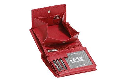 LEAS Wiener-Kombibörse mit Geheimfach Echt-Leder, Special Edition(Burgandy rot)