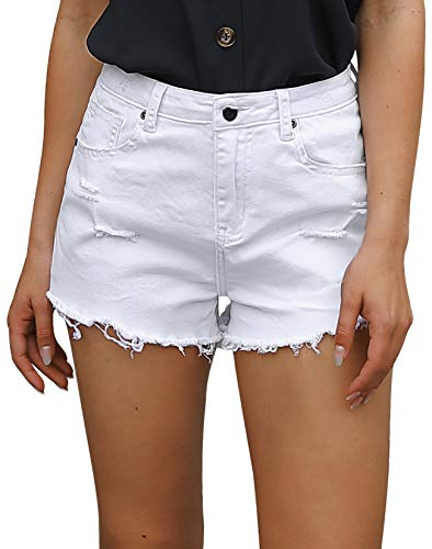 POTILI Women's High Waisted Jean Shorts Casual Ripped Distressed Denim Shorts with Pockets White