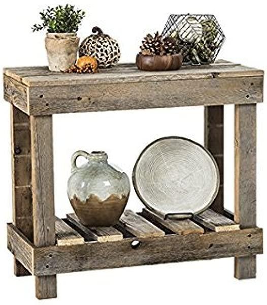 Del Hutson Designs Rustic Barnwood Sofa Table USA Handmade Reclaimed Wood Natural
