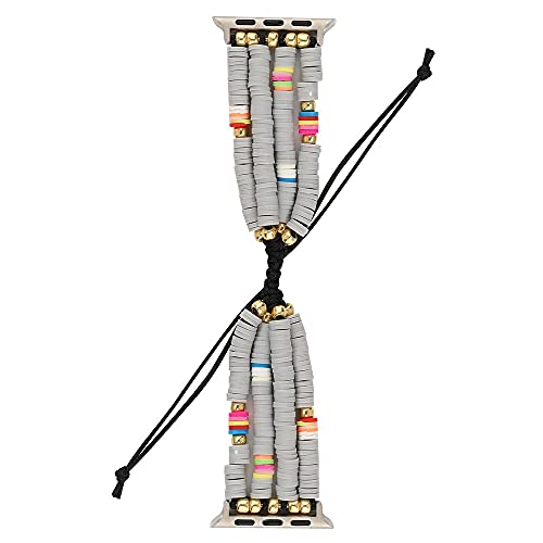 LINMAN Bohemian Braided Strap pour Regarder 5 4 Band 44mm 40mm 42mm 38mm IWatch 3 2 1 Femmes Filles Beads Bijoux Bijoux Bracelet (Band Color : Grey, Taille : 38mm Or 40mm)