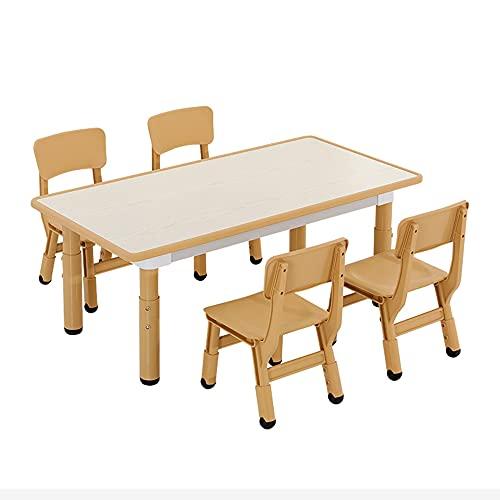 Juego de mesa y silla para niños, ajustable en altura, mesa de estudio para niños con 4 sillas, para que los niños de 3 a 14 años lean, coman y jueguen, adecuado para familias de jardín de infant