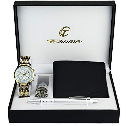 Geschenkset Herren Armbanduhr- - Schweizer Taschenmesser  Taschenlampe  - Brieftasche -Stift