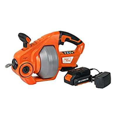 """SuperHandy Drain Auger Cordless Automatic 25' Feet/7m 18V Max Li-Ion Replaceable Shaft Flexible Snake Clog Dredger Plumbing for 3/4""""-2"""" Inch/19-50mm Pipe Kitchen Sink, Toilet, Tub & Shower w/LED Light"""