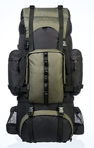 Amazon Basics - Mochila de senderismo con estructura interna y capa para lluvia, 65 L, Verde