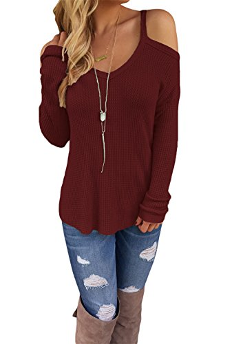 Dokotoo Womens Cold Open Shoulder Loose Knitted Sweater Top Blouse Small Wine