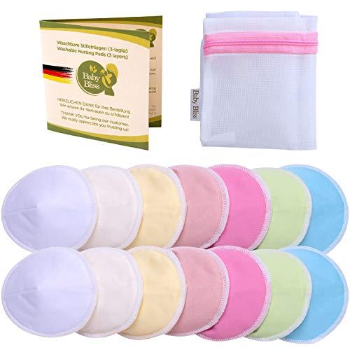 Baby Bliss Discos de Lactancia Lavables de Bambú (Set de 14 Almohadillas de Lactancia, Bolsa de Colada), Pezoneras Absorbentes Hipoalergénicas y Reutilizables - Multicolor, 10cm