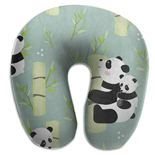 SALLYLOU Cute U-Shaped Neck Pillow,Panda Bamboo Tree Forest with Soft Nice Washable Cover Supports Neck and Release Pain Lightweight Best for Travel,Home,Office.