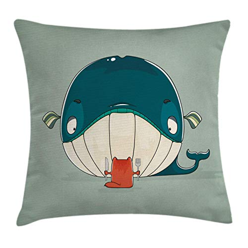 Cushion Cover Greedy Little Cat Sitting Down to Dine on a Huge Fish Dinner of Whale Cartoon Pillow Cover Bar Party Festival Gift Use Pillow Protector 45*45cm