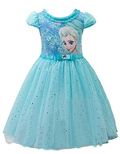 Eyekepper cstume delle Ragazze delle Bambine Abito Fumetto Elsa Principessa Cosplay Mesh Vestito a Palloncino Colore Blu per Altezza 100cm