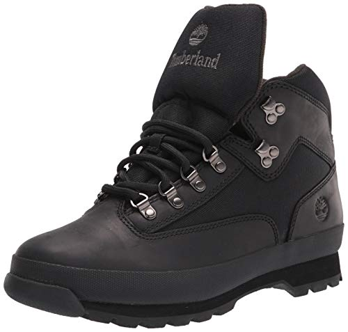 Timberland Mens Euro Hiker Mid Hiking Boot- Black Full Grain Size 8