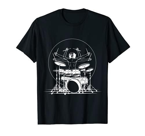 Batería Hombre de Vitruvio I Batería de música rock Camiseta