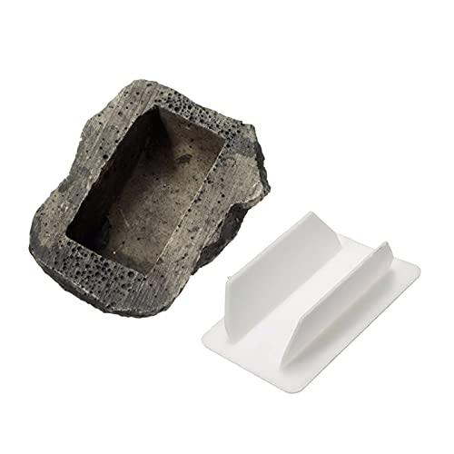 Fenteer Caja de Llaves de Roca Oculta, Llaves Ocultas en una Piedra Falsa, Almacenamiento Seguro de Seguridad, Llaves de Repuesto Ocultas, Puerta de Entrada