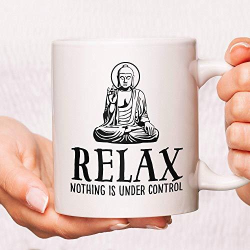Lplpol Buddha-Kaffeetasse, Buddha-Tasse, Buddha-Tasse, Relax Nothing is Under Control, Kaffeetassen Geschenke, Zen-Yoga-Buddhismus-Tasse, 325 ml