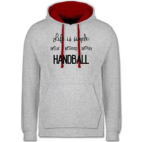 Handball Geschenk für Handballer - Life is Simple Handball - XS - Grau meliert/Rot - Handball Hummel Storm pro - JH003 - Hoodie zweifarbig und Kapuzenpullover für Herren und Damen