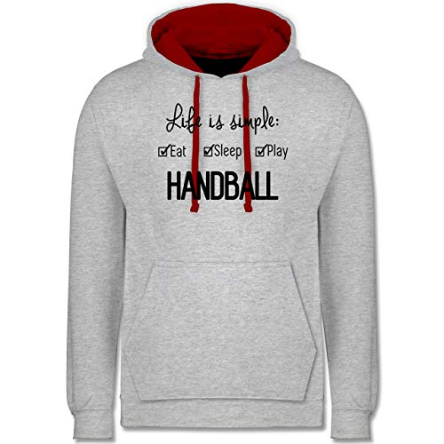 Shirtracer Handball - Life is Simple Handball - M - Grau meliert/Rot - Handball 2 - JH003 - Hoodie zweifarbig und Kapuzenpullover für Herren und Damen