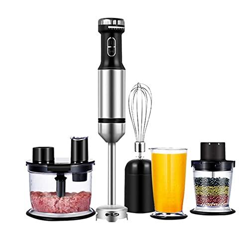 XHNXHN El Juego de batidora Manual de inmersión Incluye Picador de Alimentos sin BPA/batidor de Huevos/Vaso de precipitados/rebanador, Cuchilla de Recubrimiento de Titanio, Agarre ergonómico