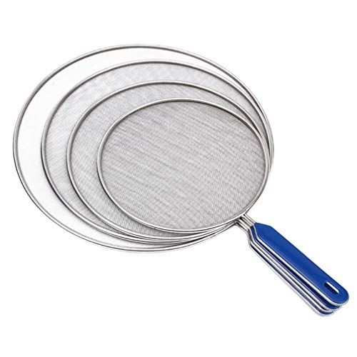 Yardwe 4 Stück Fett-Spritzschutz für Bratpfanne Edelstahl-Spritzschutz Ölwanne Pfannendeckel Speiseölfilter-Sieb Netzdeckel Topfdeckel 33 cm 29 cm 25 cm 21 cm