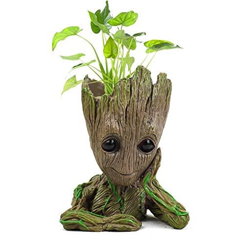 HUAJIANGHU Blumenübertopf Action-Figuren Baum Modell Spielzeug for Kinder Stifthalter Kreative Garten-Blumen-Übertopf (Color : White)
