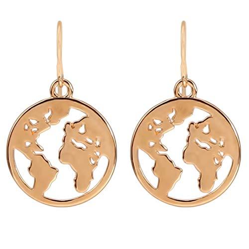Idiytip Geometrische Hohle Runde Scheibe Münze Weltkarte Haken Baumeln Ohrringe für Frauen Schmuck,Golden