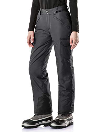 TSLA Women's Winter Snow Pants, Waterproof Insulated Ski Pants, Ripstop Snowboard Bottoms, Snow Cargo(xkb92) - Charcoal, Small Short
