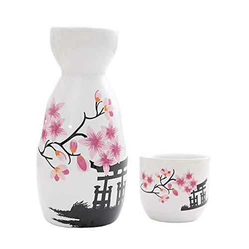 HYKJ Japanischer Wein mit Retro-Keramik Sake Topf Set Familie Schnaps gelb Wein Unterwein Flasche heißen Wein Topf kleine Weintopf
