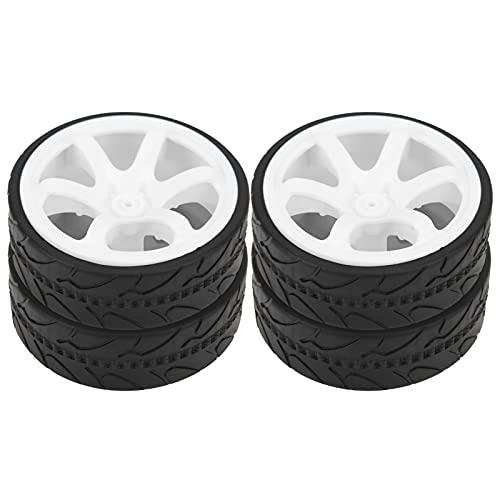 Dilwe Rueda de Coche RC, Rueda RC y Cubo de neumático con Goma ranurada Adecuado para Accesorio de Repuesto de actualización de camión de Carreras 1/10(Blanco)