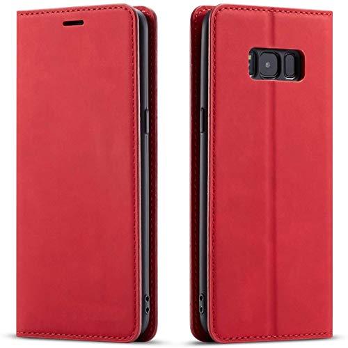 QLTYPRI Hülle für Samsung Galaxy S7, Premium Dünne Ledertasche Handyhülle mit Kartenfach Ständer Flip Schutzhülle Kompatibel mit Samsung Galaxy S7 - Rot