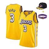 YUUY Lakers, Anthony Davis #3 Mangas Cortas de Entrenamiento Transpirables,Camiseta de Baloncesto Bordada a Mano,Multicolor Opcional, Juvenil (Color : Amarillo, Size : Children-10/12)