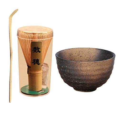 HomeDecTime Juego De 3 Utensilios De Te Japoneses: Batidor Chasen, Tetera Matcha, Kit De Tazon De Te De Ceramica