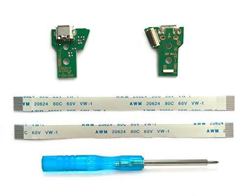 2x JDS-040 Scheda Porta di Ricarica Micro-USB per Controller PS4, Parte di Ricambio PlayStation 4 DualShock, Connettore dell'adattatore per Caricabatterie con Flex Ribbon Cavo Sostituzione