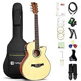 Vangoa 3/4 Electro Acoustic Guitar 36 Inches Cutaway Folk Guitar Beginner Set with Built-in Tuner, 2 Band EQ, Starter Kits, Natural