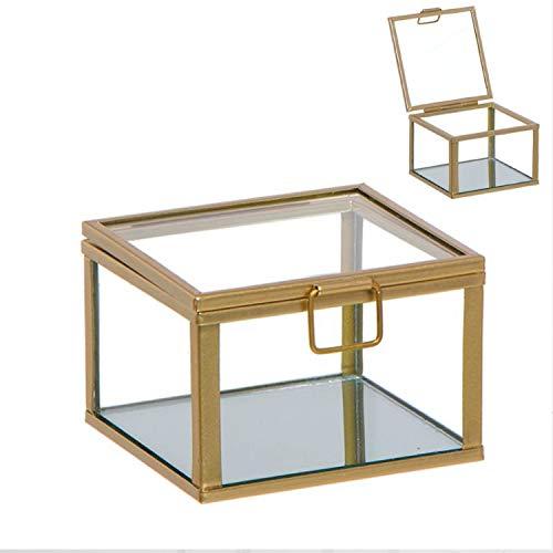 Vidal Regalos Caja Decorativa Cristal y Metal Dorada 12 cm