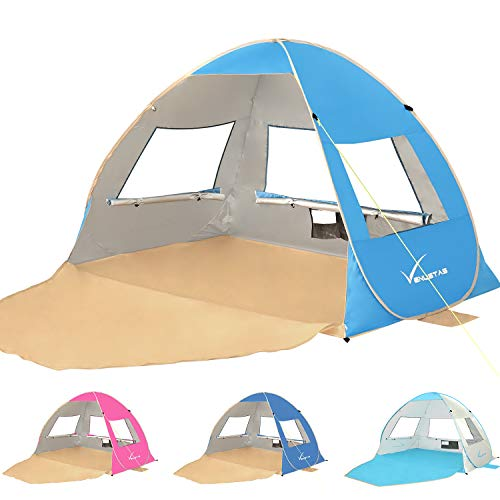 Large Pop Up Beach Tent Beach Umbrella Automatic Sun Shelter Cabana Easy Set Up Light Weight Beach...