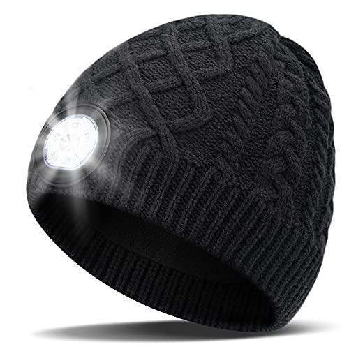 Männer Geschenke Weihnachtsgeschenke Mütze mit Led Licht - Wichtelgeschenk Ideen Wiederaufladbar Led Mütze, Praktische Nikolaus Geschenke für Papa Radfahrer Angeln Läufer, Geschenkideen für Ihn Sie